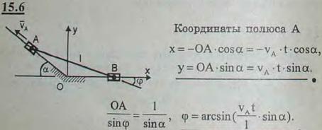 Муфты A и B, скользящие вдоль прямолинейных направляющих, соединены стержнем AB длины l. Муфта A движется с постоянной скоростью vA. Нап..., Задача 3041, Теоретическая механика