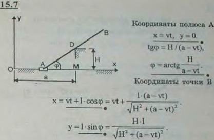 Конец A стержня AB скользит по прямолинейной направляющей с постоянной скоростью v, причем стержень при движении опирается на штифт..., Задача 3042, Теоретическая механика