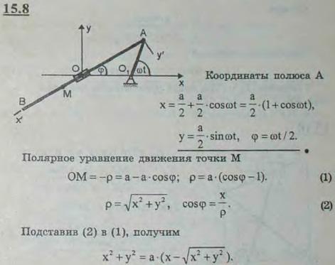 Кривошип O1A длины a/2 вращается с постоянной угловой скоростью ω. С кривошипом в точке A шарнирно соединен стержень AB..., Задача 3043, Теоретическая механика