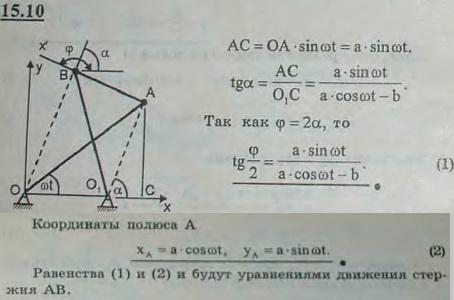 Кривошип OA антипараллелограмма OABO1, поставленного на малое звено OO1, равномерно вращается с угловой скоростью ω. Приняв за полюс т..., Задача 3045, Теоретическая механика