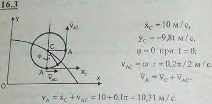 При движении диска радиуса r=20 см в вертикальной плоскости его центр движется согласно уравнениям xC=10t м, yC=(100-4,9t2) м. При этом диск враща..., Задача 3048, Теоретическая механика