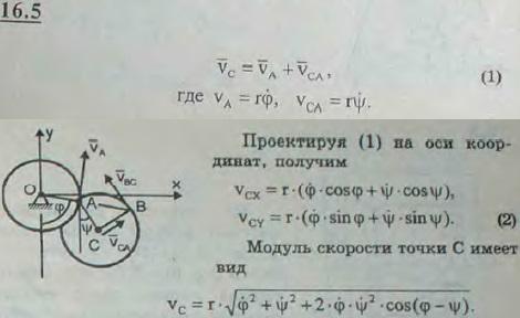 Два одинаковых диска радиуса r каждый соединены цилиндрическим шарниром A. Диск I вращается вокруг неподвижной горизонталь..., Задача 3050, Теоретическая механика