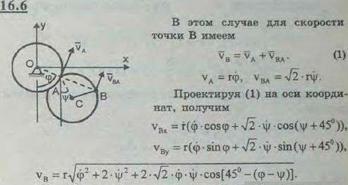 Сохранив условие предыдущей задачи, найти скорость точк..., Задача 3051, Теоретическая механика