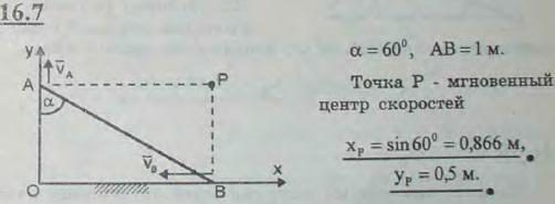 Стержень AB длины 1 м движется, опираясь все время своими концами на две взаимно перпендикулярные прямые Ox и Oy. Найти координаты x..., Задача 3052, Теоретическая механика