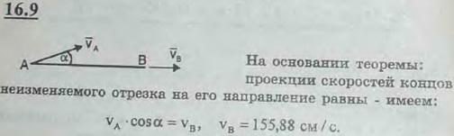 Прямая AB движется в плоскости рисунка. В некоторый момент времени скорость vA точки A составляет с прямой AB угол 30° и ра..., Задача 3054, Теоретическая механика