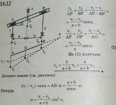 На рисунке изображен суммирующий механизм. В него входят стержни 1 и 2, движущиеся вдоль вертикальных направляющих. Эти стержни соединены с коромыслом AB цилиндричес..., Задача 3058, Теоретическая механика