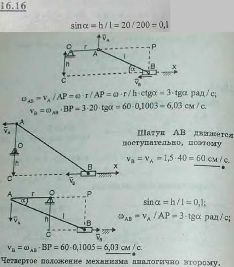 Найти скорость ползуна B нецентрального кривошипного механизма при двух горизонтальных и двух вертикальных полож..., Задача 3061, Теоретическая механика