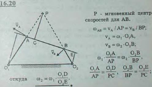Угловая скорость стержня O1A шарнирного четырехзвенника равна ω1. Выразить угловую скорость ω2 стержня O2B через ω1 и кратчайшие рас..., Задача 3065, Теоретическая механика