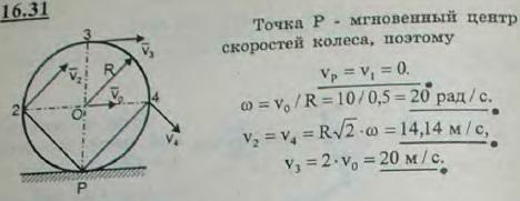 Колесо радиуса R=0,5 м катится без скольжения по прямолинейному участку пути; скорость центра его постоянна и равна v0=10 м..., Задача 3076, Теоретическая механика