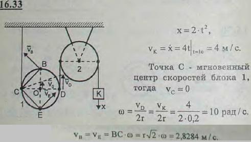Подвижный блок 1 и неподвижный блок 2 соединены нерастяжимой нитью. Груз K, прикрепленный к концу этой нити, опускается по ..., Задача 3078, Теоретическая механика