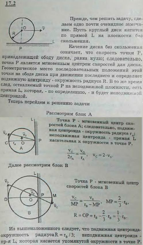 Определить подвижные и неподвижные центроиды блоков A и B полиспаста, радиусы которых соответственно равны rA ..., Задача 3088, Теоретическая механика
