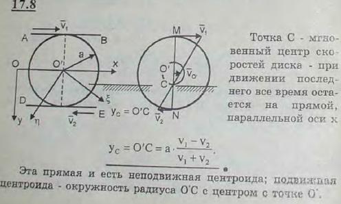 Две параллельные рейки AB и DE движутся в противоположные стороны с постоянными скоростями V1 и V2. Между рейкам..., Задача 3094, Теоретическая механика