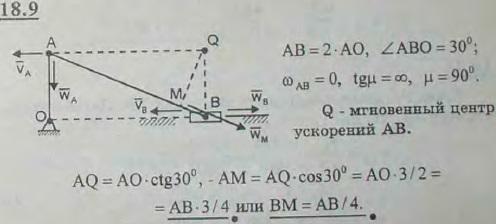 Длина шатуна AB кривошипно-ползунного механизма в два раза больше длины кривошипа OA. Определить положение точки шатуна AB, ускорен..., Задача 3106, Теоретическая механика