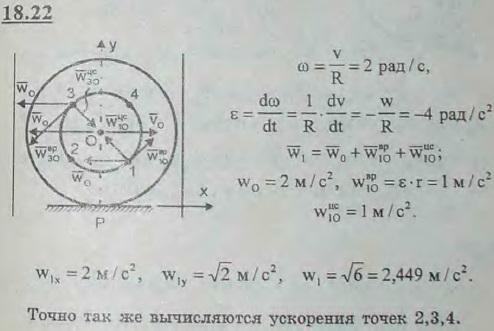Вагон трамвая движется по прямолинейному горизонтальному участку пути с замедлением w0=2 м/с2, имея в ..., Задача 3119, Теоретическая механика