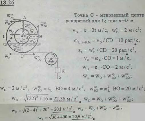Груз K, связанный посредством нерастяжимой нити с катушкой L, опускается вертикально вниз по закону x=t2 м. При этом катушка..., Задача 3123, Теоретическая механика