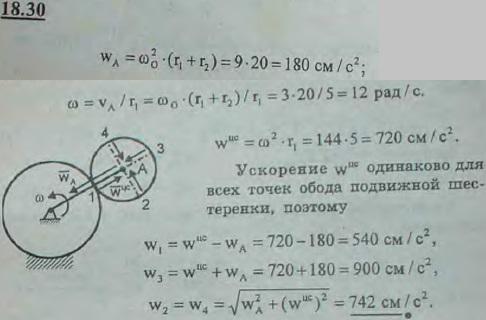 Найти ускорения концов B, C, D, E двух диаметров шестеренки радиуса r1=5 см, катящейся снаружи неподвижной шестеренки радиуса r2=15..., Задача 3127, Теоретическая механика