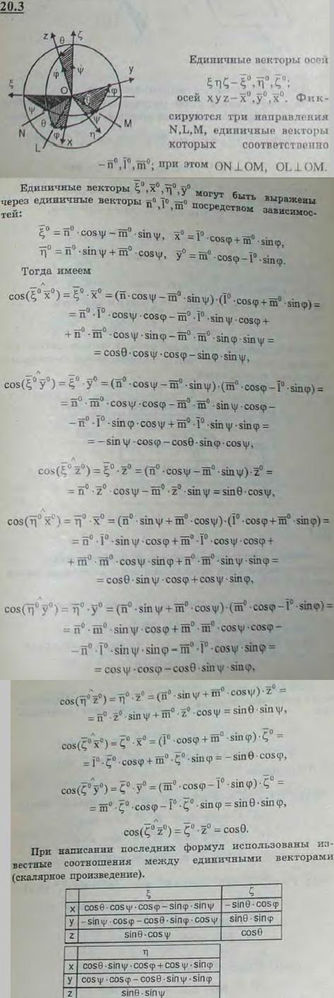 Положение твердого тела, имеющего одну неподвижную точку O, определяется тремя углами Эйлера: углом прецессии ψ, углом н..., Задача 3156, Теоретическая механика
