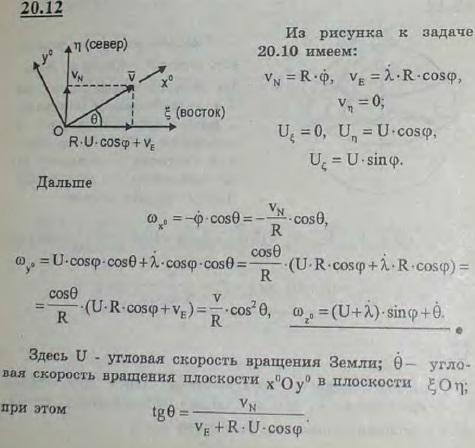 Трехгранник Дарбу Оx0y0z0 на поверхности Земли ориентирован следующим образом: ось x0 направляется по абсолютной скорости V точки..., Задача 3165, Теоретическая механика