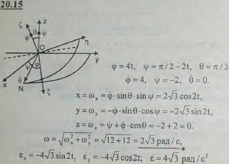 Движение тела вокруг неподвижной точки задано углами Эйлера: φ=4t, ψ=π/2-2t, θ=π/3. Определить координаты точки, выче..., Задача 3168, Теоретическая механика