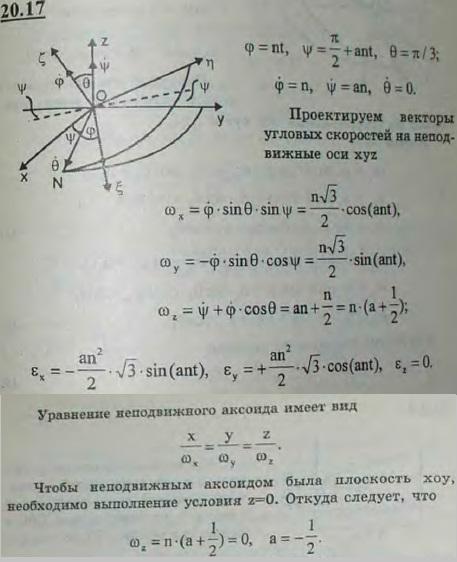 Движение тела вокруг неподвижной точки задано при помощи углов Эйлера следующими уравнениями: φ=nt, ψ=π/2+ant,..., Задача 3170, Теоретическая механика