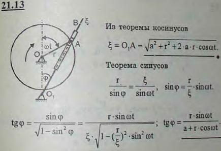 Ускорительный механизм строгального станка состоит из двух параллельных валов O и O1, кривошипа OA и кулисы O1B. Конец кривошипа OA сое..., Задача 3184, Теоретическая механика