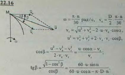 Частицы воды входят в турбину со скоростью u. Угол между скоростью и касательной к ротору, проведенной в точке входа частицы, рав..., Задача 3202, Теоретическая механика