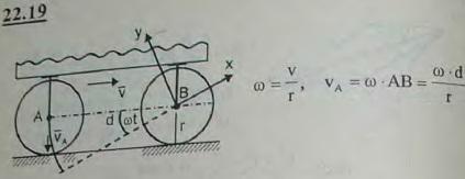 Колеса A и B вагона, движущегося со скоростью v по прямолинейному рельсу, катятся по нему без скольжения. Радиусы колес равны r,..., Задача 3205, Теоретическая механика