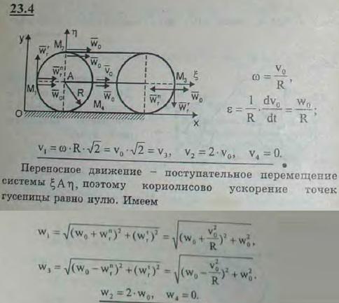 Найти скорости и ускорения точек M1, M2, M3 и M4 гусеницы трактора, движущегося без скольжения по прямолинейному участк..., Задача 3217, Теоретическая механика