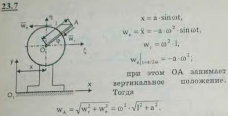 К валу электромотора, вращающегося согласно уравнению φ=ωt (ω=const), прикреплен под прямым углом стержень O..., Задача 3220, Теоретическая механика