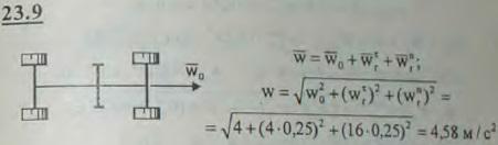 Автомобиль на прямолинейном участке пути движется с ускорением w0=2 м/с2. На продольный вал насажен вращающийся маховичок радиуса R=0,25 м, имею..., Задача 3222, Теоретическая механика