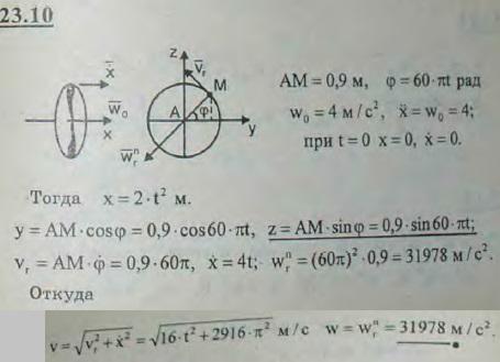 Самолет движется прямолинейно с ускорением w0=const=4 м/с, винт диаметра d=1,8 м вращается равномерно с угловой ско..., Задача 3223, Теоретическая механика