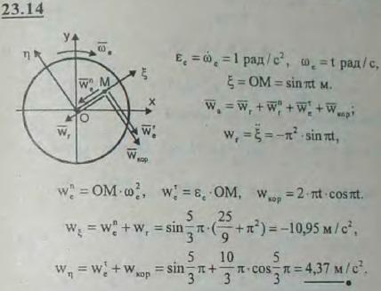 Диск вращается вокруг оси, перпендикулярной плоскости диска, по часовой стрелке равноускоренно с угловым ускорением 1 рад/с2; ..., Задача 3227, Теоретическая механика
