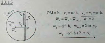 Точка движется равномерно с относительной скоростью vr по хорде диска, который вращается вокруг своей оси O, перпендикулярной п..., Задача 3228, Теоретическая механика