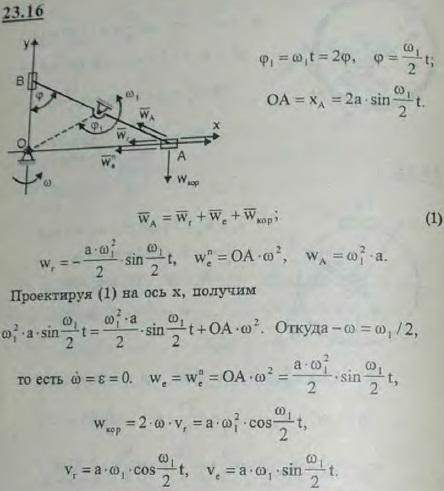 Для передачи вращения одного вала к другому, параллельному первому, применяется муфта, которая является обращенным эллиптическим циркулем с закрепленным кривошипом OO1. Криво..., Задача 3229, Теоретическая механика