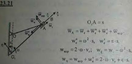 Камень A совершает переносное движение вместе с кулисой, вращающейся с угловой скоростью ω и угловым ускорением ε вокруг оси O1, пер..., Задача 3234, Теоретическая механика