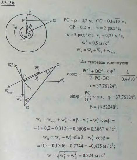 Лопатка AB турбины, вращающейся против часовой стрелки замедленно с угловым ускорением, равным 3 рад/с2, имеет радиус кривизны 0,2 м и центр кривизны в т..., Задача 3239, Теоретическая механика