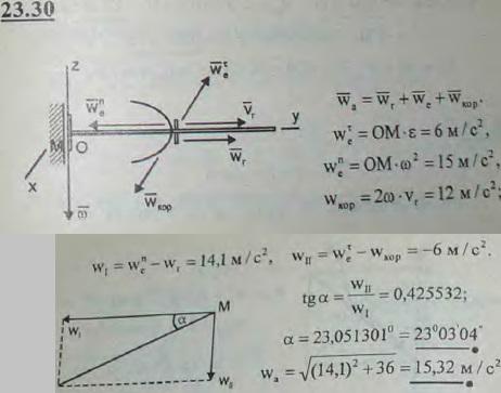 Стержень OA вращается вокруг оси z, проходящей через точку O, с угловым замедлением 10 рад/с2. Вдоль стержня от точки O скользит..., Задача 3243, Теоретическая механика