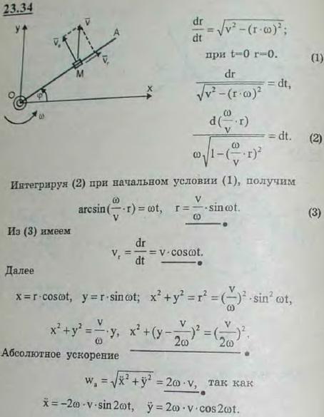 Полупрямая OA вращается в плоскости рисунка вокруг неподвижной точки O с постоянной угловой скоростью. Вдоль OA перемещается точка M. В мом..., Задача 3247, Теоретическая механика