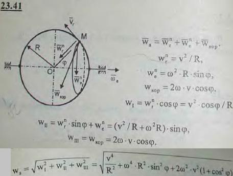 По ободу диска радиуса R, вращающегося вокруг своего диаметра с постоянной угловой скоростью, движется с постоянной по модулю скор..., Задача 3254, Теоретическая механика