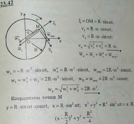 Диск радиуса R вращается с постоянной угловой скоростью вокруг оси, проходящей через его центр перпендикуляр..., Задача 3255, Теоретическая механика