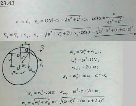 Диск вращается с постоянной угловой скоростью ω вокруг оси, проходящей через его центр перпендикулярно плоскости..., Задача 3256, Теоретическая механика