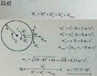 Точка движется со скоростью 2 м/с по окружности обода диска диаметра 4 м. Диск вращается в противоположном направлени..., Задача 3258, Теоретическая механика