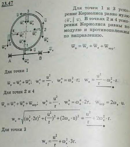 Полое кольцо радиуса r жестко соединено с валом AB, и притом так, что ось вала расположена в плоскости оси кольца. Кольцо заполнено жидкостью, движу..., Задача 3260, Теоретическая механика