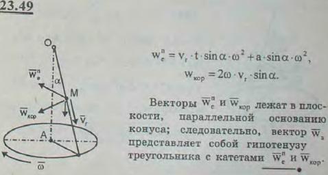 Точка M равномерно движется по образующей кругового конуса с осью OA от вершины к основанию с относительной скоростью vr; угол MOA=α...., Задача 3262, Теоретическая механика