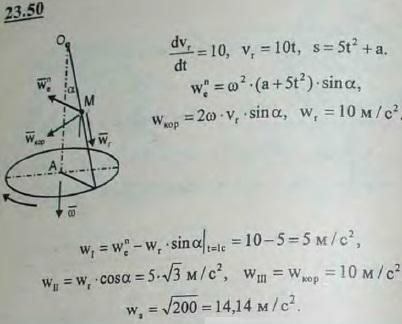 Определить в предыдущей задаче величину абсолютного ускорения точки M в момент t=1 с в том случае, когда она движ..., Задача 3263, Теоретическая механика
