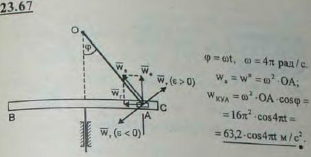 Кривошипно-кулисный механизм приводного молота состоит из прямолинейной кулисы, совершающей возвратно-поступатель..., Задача 3280, Теоретическая механика