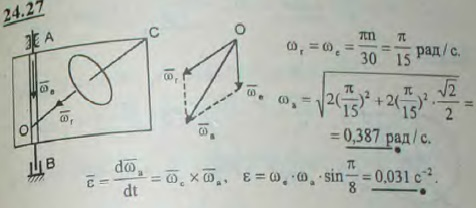 Квадратная рама вращается вокруг оси AB, делая 2 об/мин. Вокруг оси BC, совпадающей с диагональю рамы, вращается диск, делая 2 об/мин..., Задача 3311, Теоретическая механика