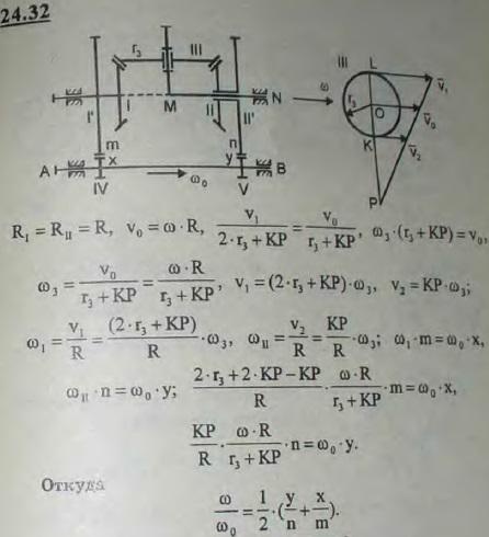 При применении дифференциального зацепления для получения назначенного отношения чисел оборотов осей AB и MN к коническим колесам I и II дифференциального з..., Задача 3316, Теоретическая механика