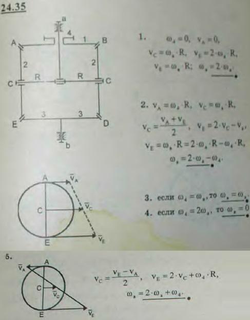 В дифференциале зуборезного станка ускорительное колесо 4 сидит на ведущем валу a свободно, вместе со скрепленным с ним жестко колесом 1. На конце ведущего вала a сидит головка, несущая ось CC сателлитов 2—2. Определить угловую скорость ведомого вала b с наглухо заклиненным ..., Задача 3319, Теоретическая механика