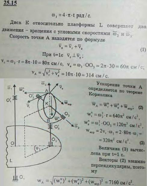 Гироскоп установлен на горизонтальной платформе L, вращающейся вокруг неподвижной вертикальной оси O1O1 с постоянной угловой скоростью 2π рад/с. Гироскопом является диск K радиуса r=10 см, вращающийся вокруг горизонтальной оси O2O 2 с постоянной угловой скорост..., Задача 3345, Теоретическая механика
